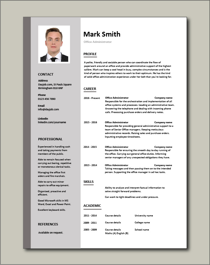 office administrator resume examples cv samples templates jobs duties administrative Resume Resume Format For Administrative Officer