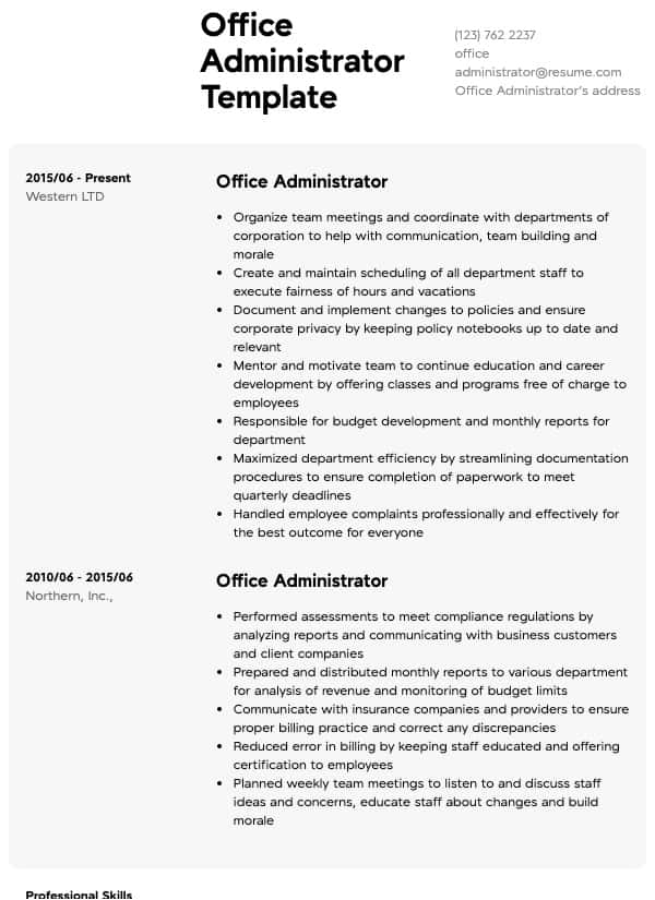 office administrator resume samples all experience levels skills for examples behavioral Resume Office Skills For Resume