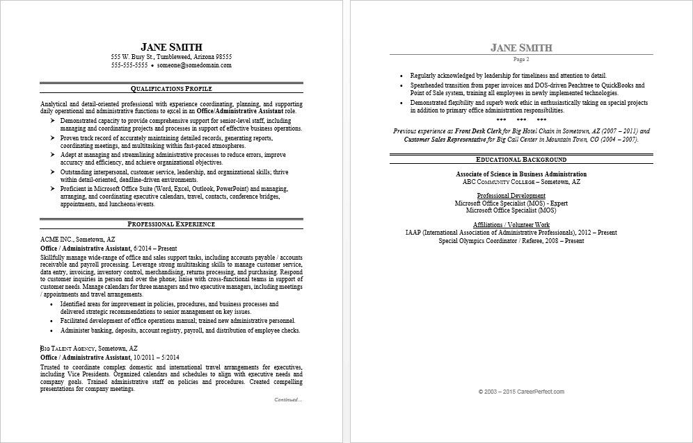 office assistant resume sample monster summary example for an administrative job Resume Resume Summary Example For An Administrative Assistant