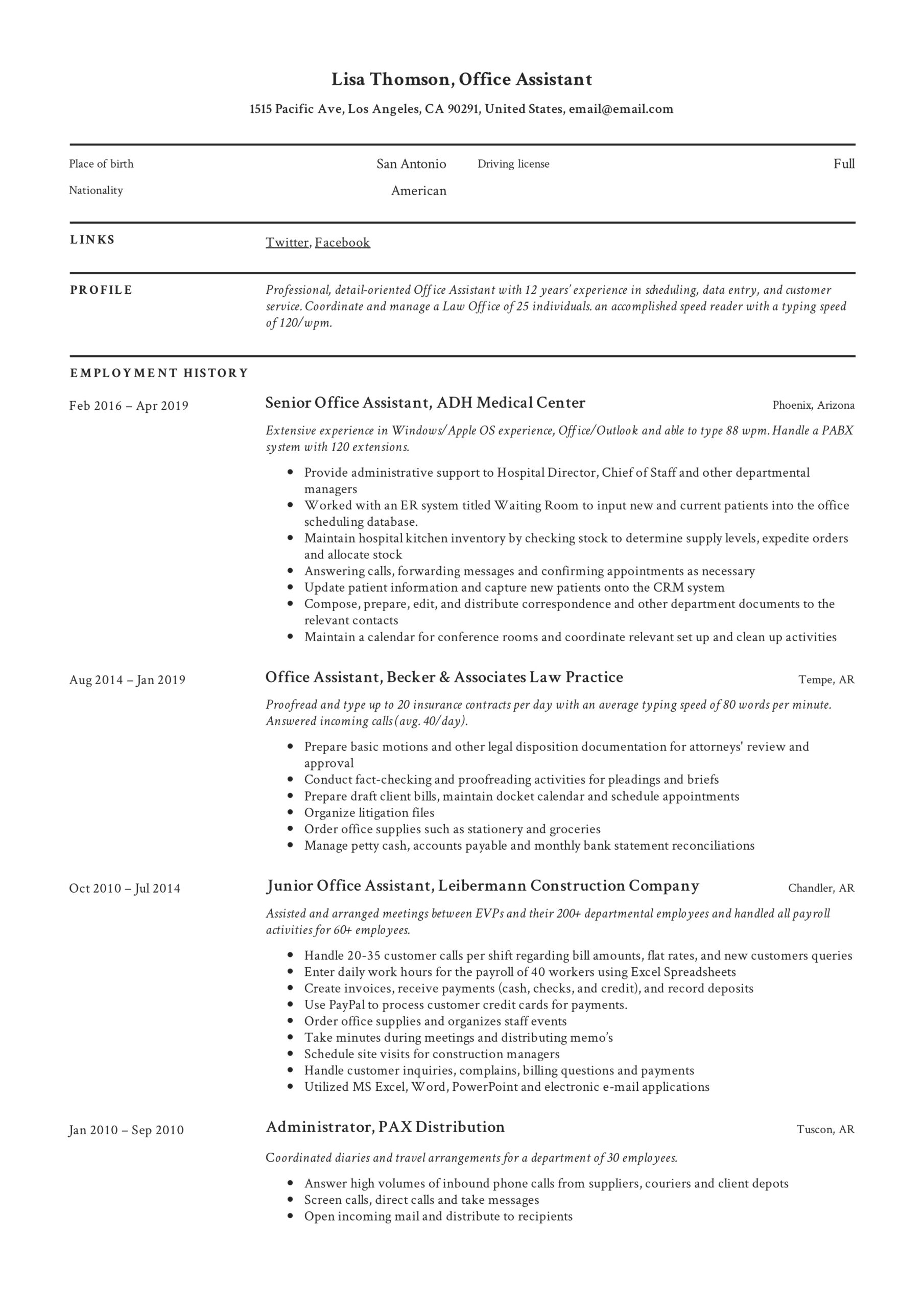 office assistant resume writing guide templates summary lisa thomson self evaluation Resume Office Assistant Resume Summary
