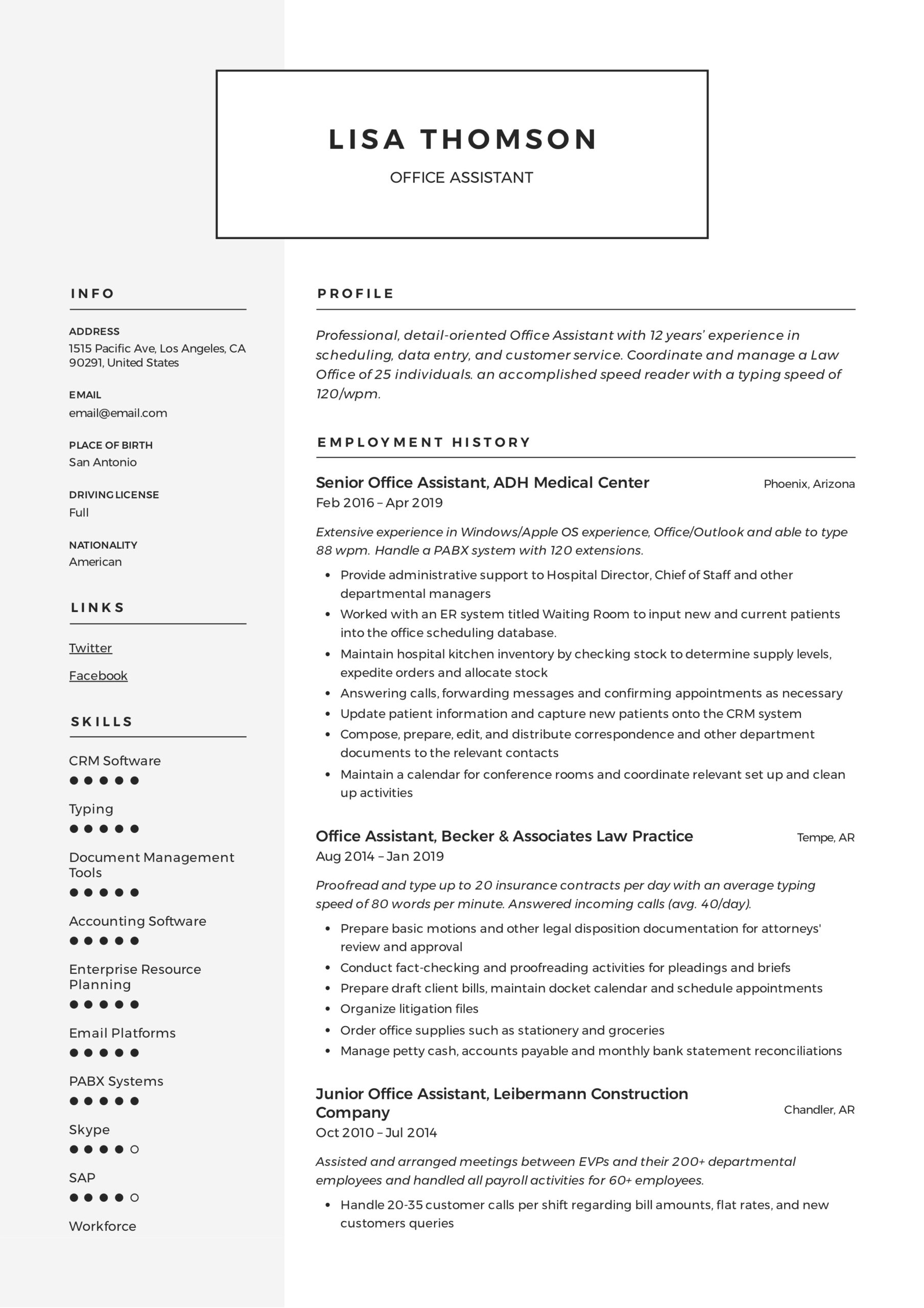office assistant resume writing guide templates summary lisa thomson zoology teacher Resume Office Assistant Resume Summary