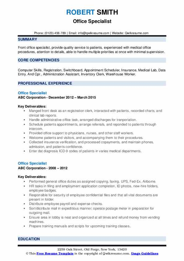 office specialist resume samples qwikresume microsoft pdf creative builder with linkedin Resume Microsoft Office Resume