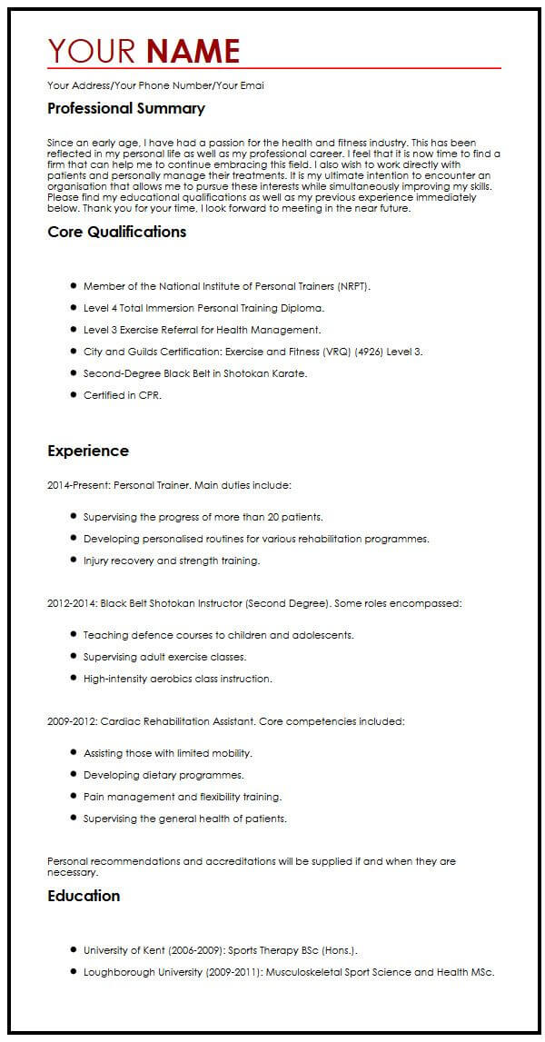 one cv format myperfectcv powerful resume summary examples sample perfect for supply Resume Powerful Resume Summary Examples