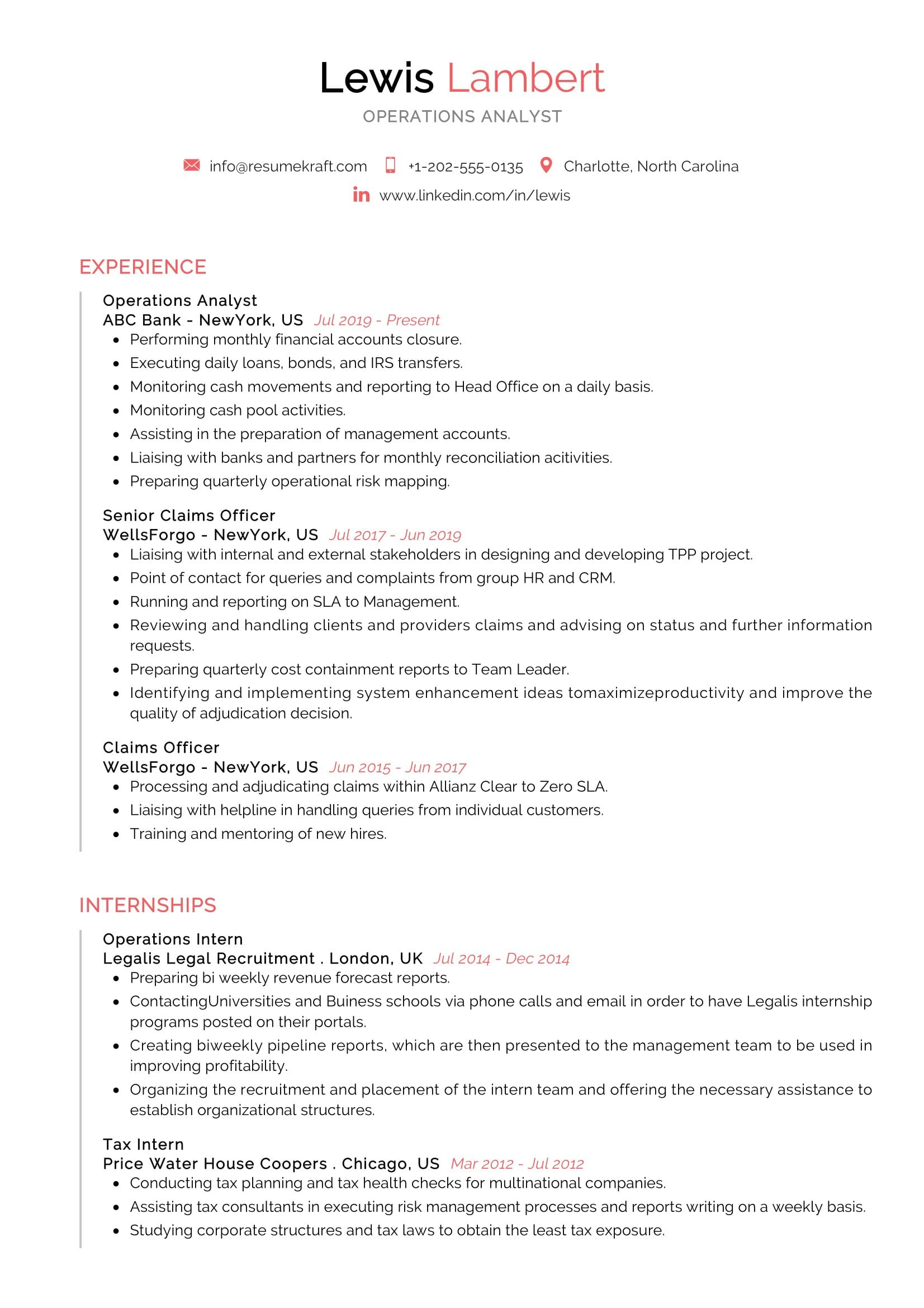operations analyst resume example resumekraft best softball player template avon Resume Best Operations Analyst Resume