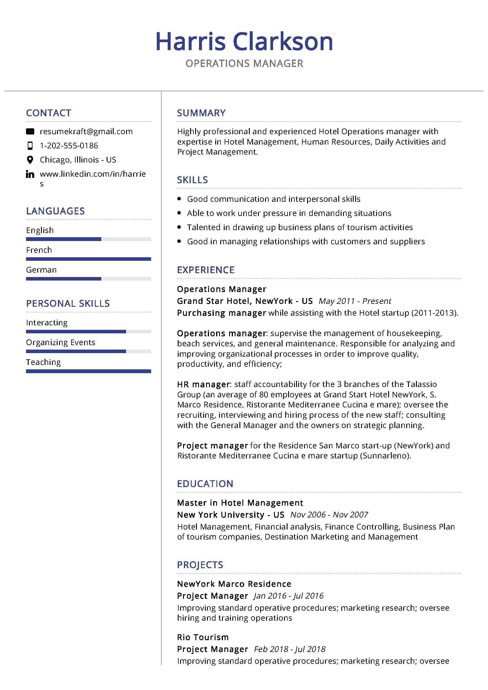 operations manager resume sample writing tips resumekraft hotel general template system Resume Hotel General Manager Resume Template