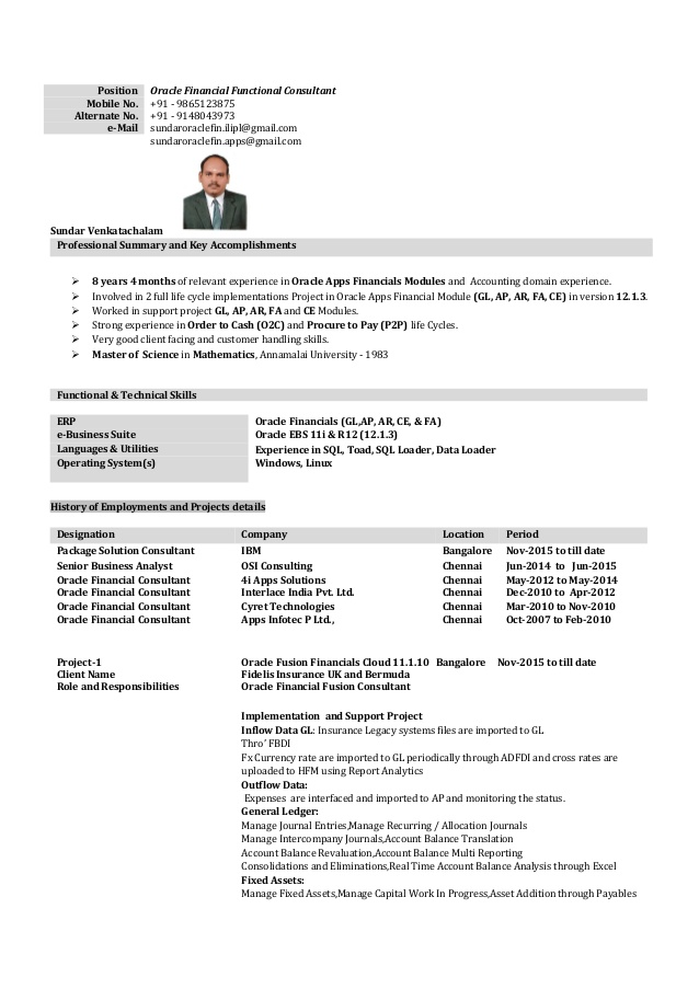 oracle apps financial consultant resume december techno functional sample with years Resume Techno Functional Consultant Resume Sample
