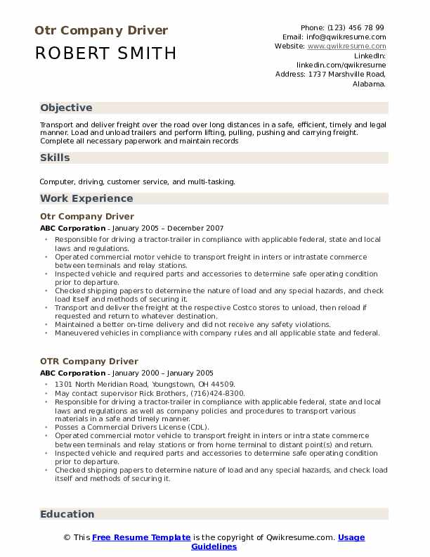 otr company driver resume samples qwikresume truck driving objective examples pdf Resume Truck Driving Resume Objective Examples