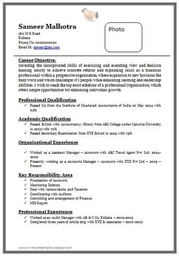 over cv and resume samples with free down chartered accountant format terms shift manager Resume Chartered Accountant Resume Format Download
