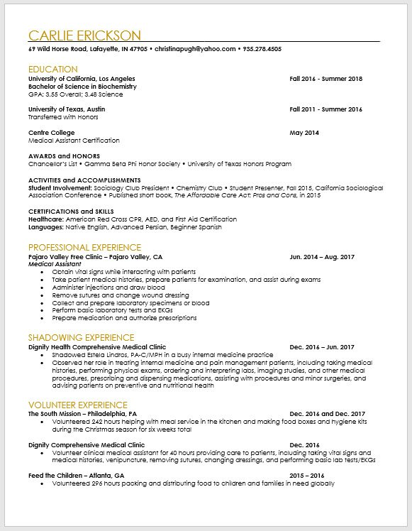 pa school applicant and pre resume template medical application physician assistant cv Resume Medical School Application Resume