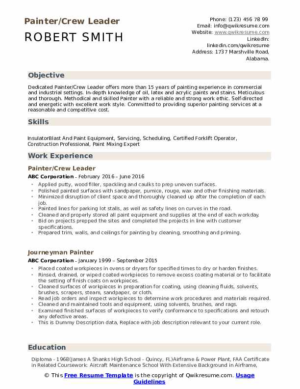 painter resume samples qwikresume description for pdf programmer summary tutor example Resume Painter Description For Resume