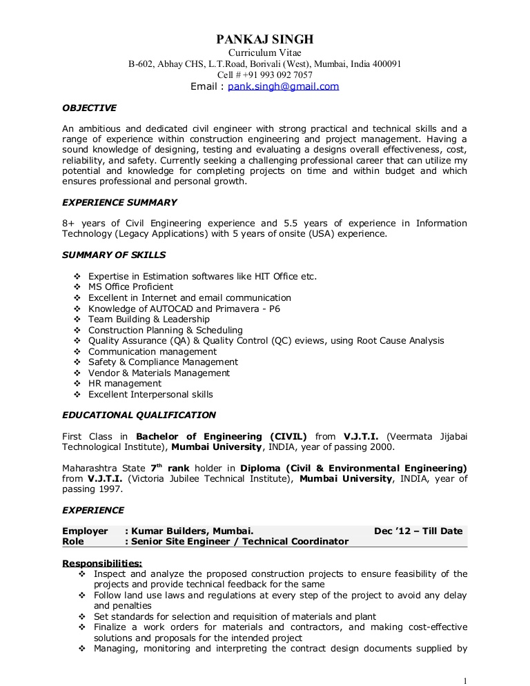 pankaj resume construction project manager civil pks 17jan2014 phpapp01 thumbnail music Resume Civil Project Manager Resume