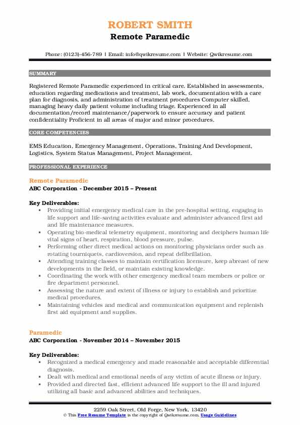 paramedic resume samples qwikresume pdf entry level finance central examples call center Resume Paramedic Resume Samples