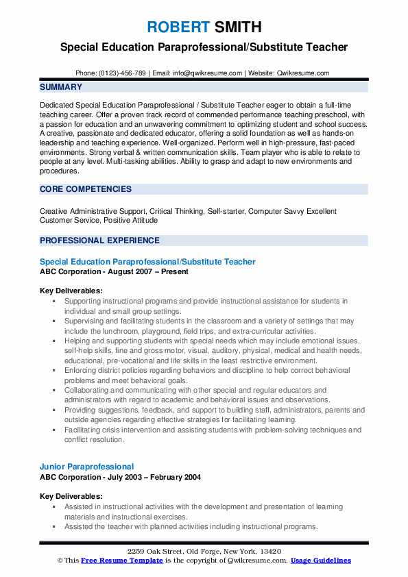 paraprofessional resume samples qwikresume special education pdf combination lying about Resume Special Education Paraprofessional Resume