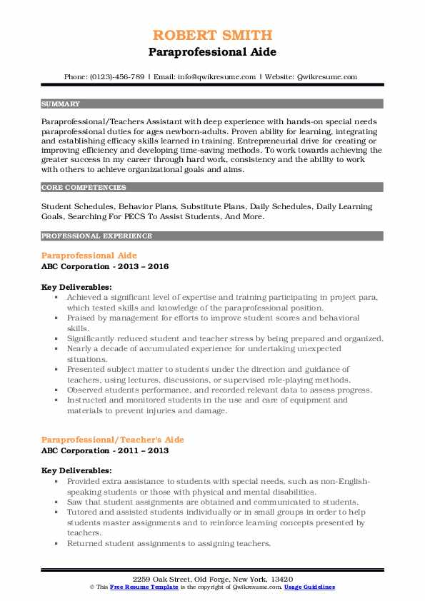 paraprofessional resume samples qwikresume special education pdf format for cts company Resume Special Education Paraprofessional Resume
