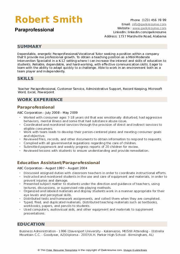 paraprofessional resume samples qwikresume special education pdf templates open office Resume Special Education Paraprofessional Resume