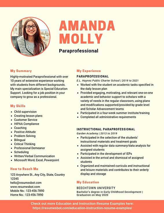 paraprofessional resume samples templates pdf resumes bot special education example teen Resume Special Education Paraprofessional Resume