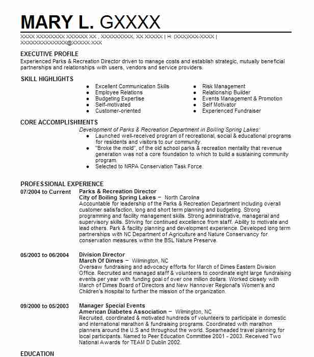 parks and recreation director resume example city of pahokee manager geologist sample Resume Recreation Manager Resume