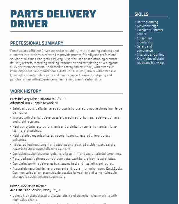 parts delivery driver resume example resumes livecareer auto job description for home Resume Auto Parts Delivery Driver Job Description For Resume