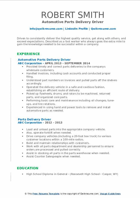 parts delivery driver resume samples qwikresume auto job description for pdf the best Resume Auto Parts Delivery Driver Job Description For Resume