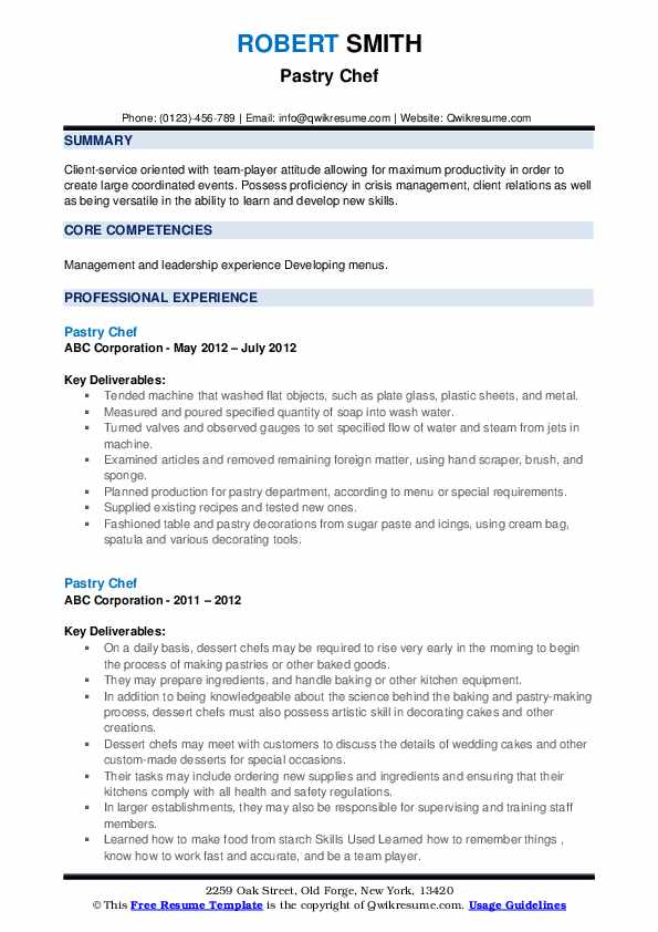 pastry chef resume samples qwikresume entry level culinary examples pdf restaurant format Resume Entry Level Culinary Resume Examples