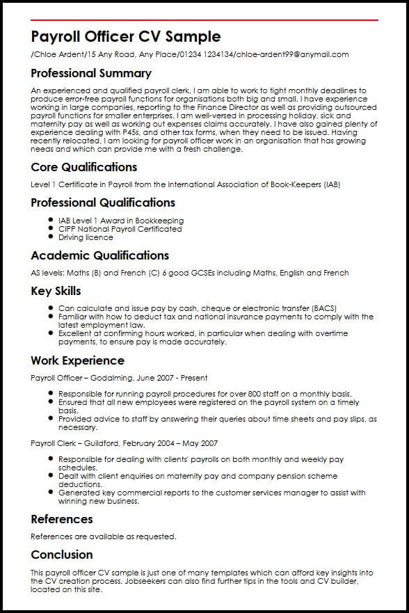 payroll officer cv example myperfectcv should pay for resume sample mortgage underwriter Resume Should I Pay For A Resume