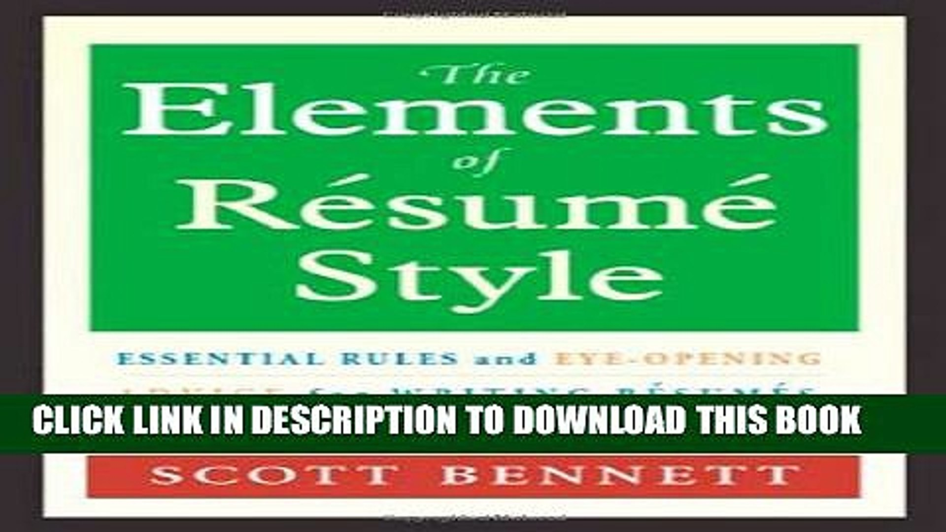 pdf the elements of resume style essential rules and eye opening advice for writing Resume Elements Of Resume Style