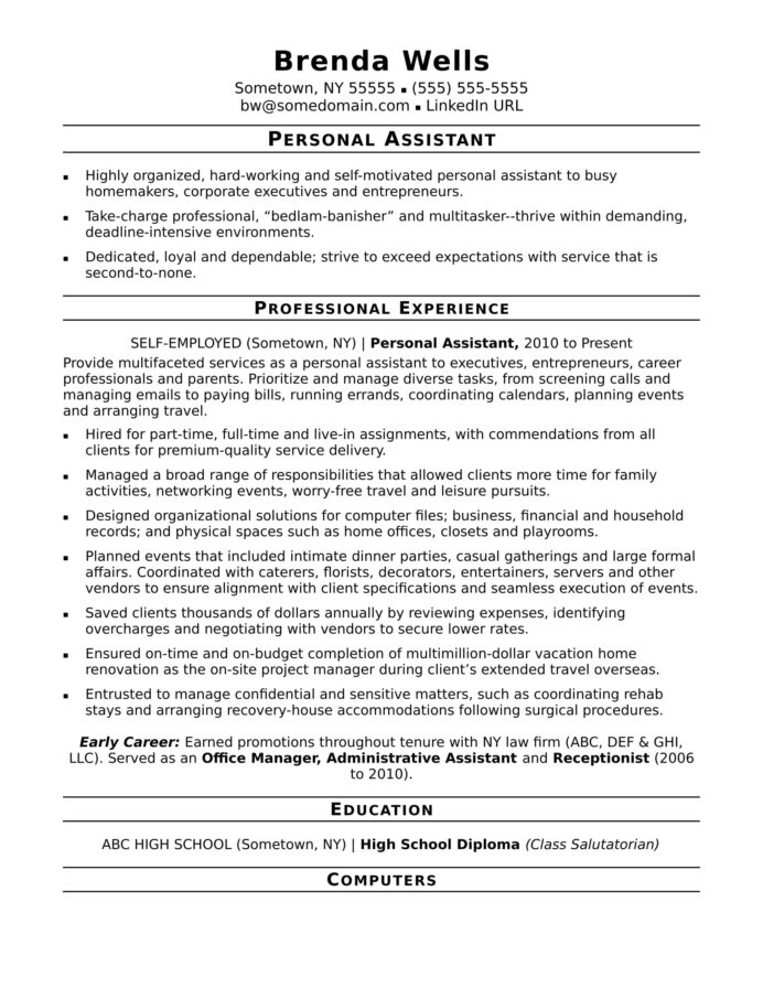personal assistant resume sample monster with promotions within the same company freshman Resume Resume With Promotions Within The Same Company