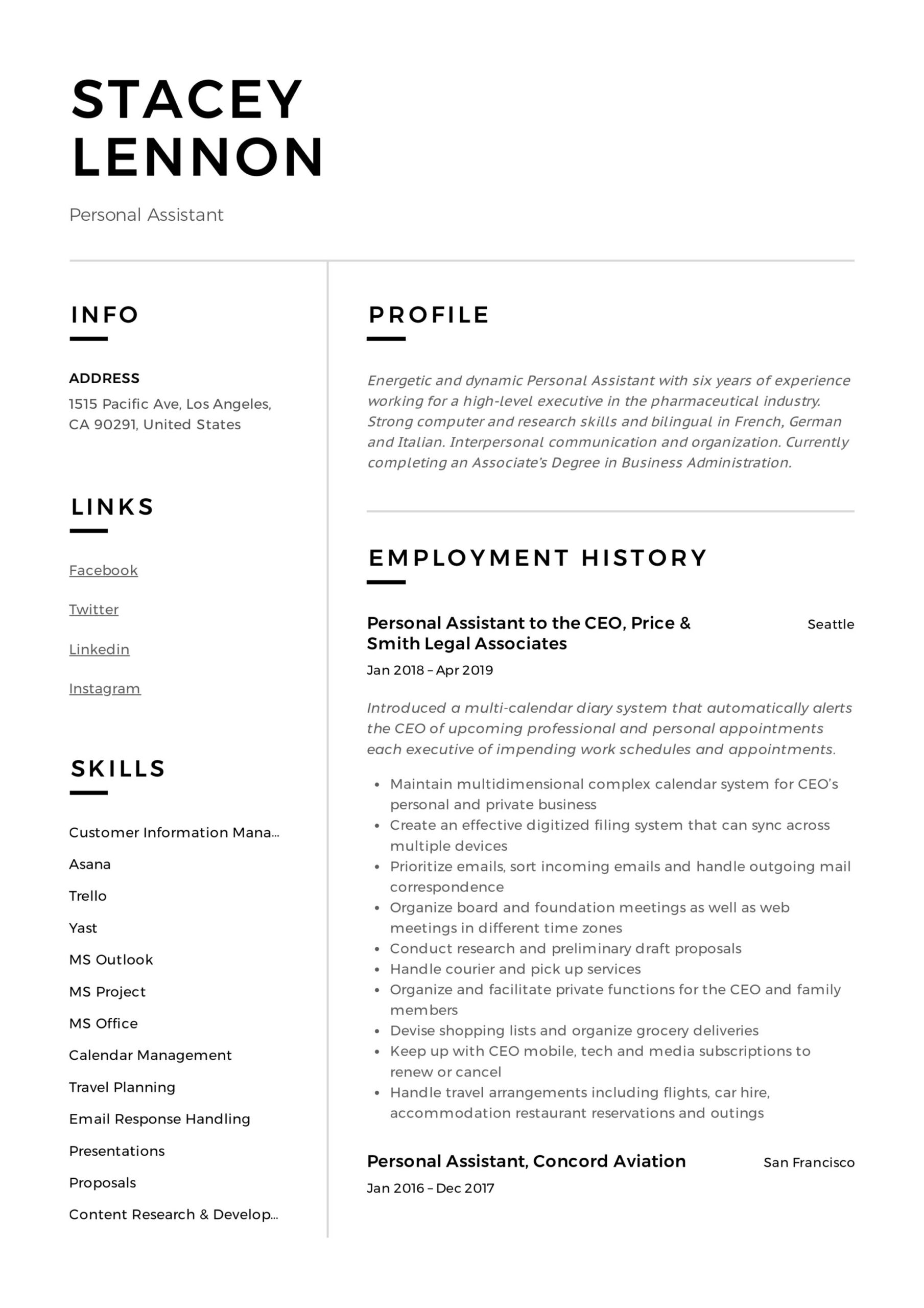 personal assistant resume writing guide templates pdf best projectionist leadership Resume Best Personal Assistant Resume