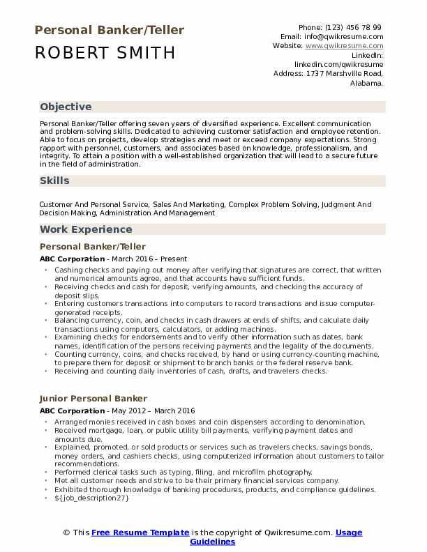 personal banker resume samples qwikresume banking examples pdf best college driver sample Resume Banking Resume Examples