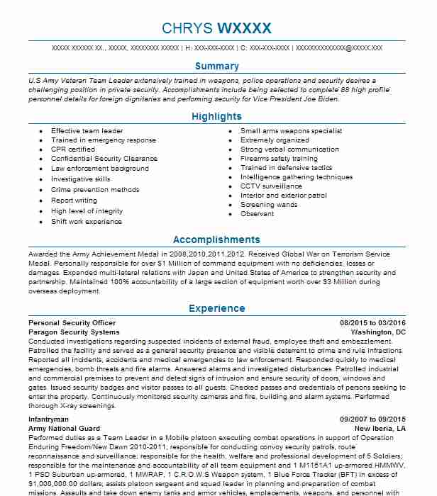 personal security detail resume example us army brooklyn new cal poly format for Resume Personal Security Detail Resume
