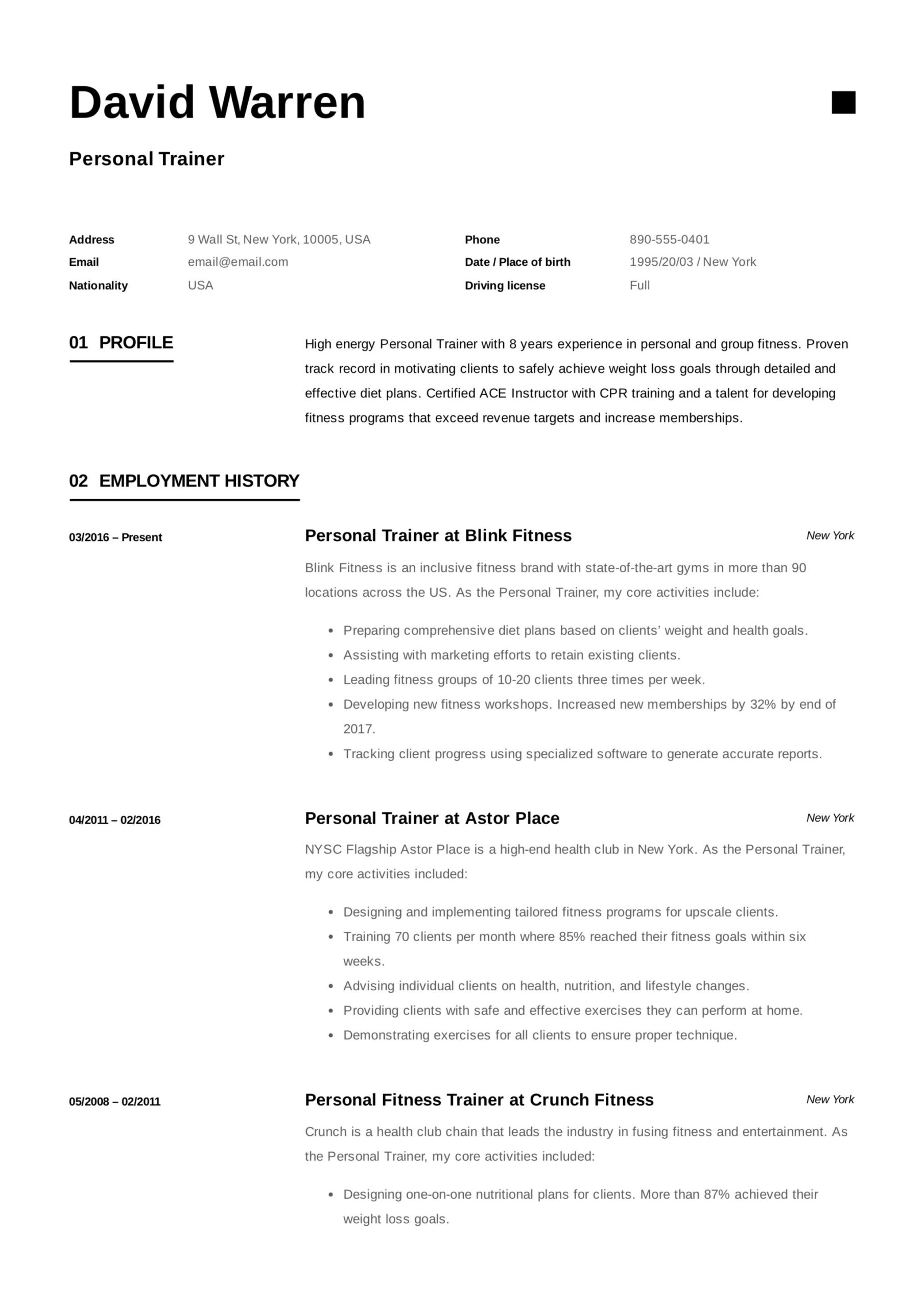 personal trainer resume guide examples pdf for gym job sample electrician template free Resume Resume For Gym Trainer Job