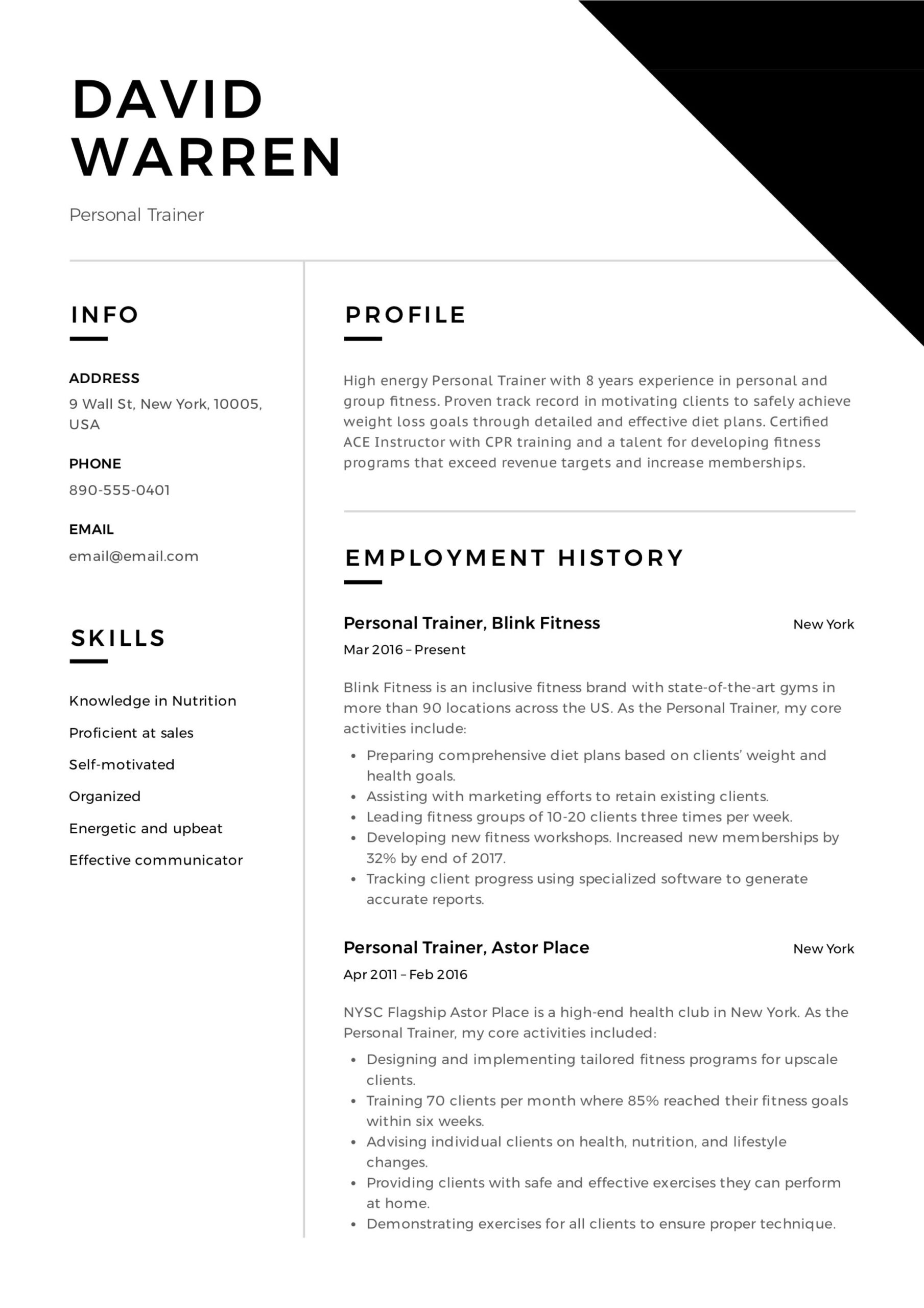 personal trainer resume guide examples pdf for gym job sample trainer11 electrician Resume Resume For Gym Trainer Job