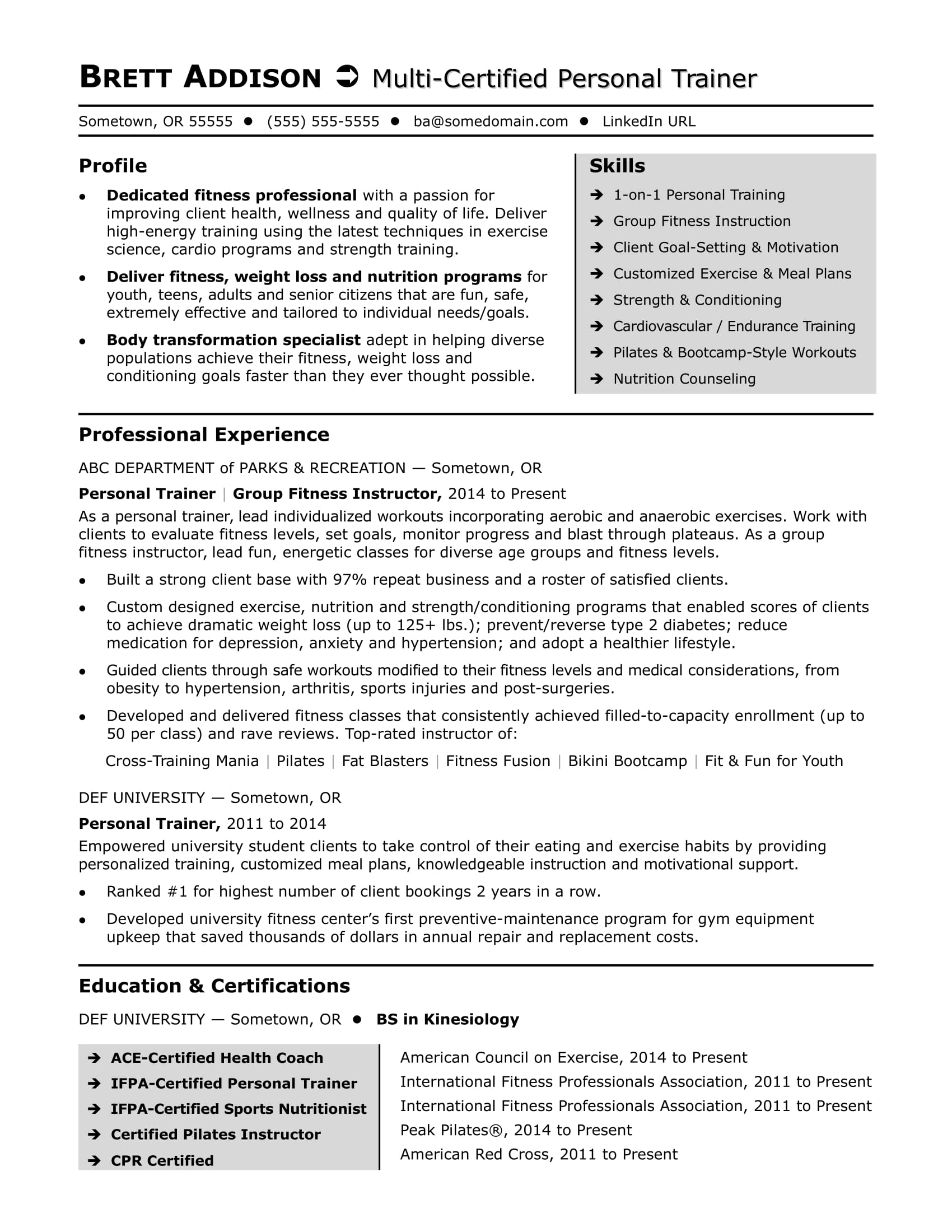 personal trainer resume sample monster coach description format for retired government Resume Coach Resume Description