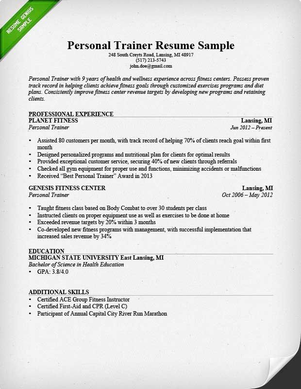 personal trainer resume sample teacher examples guided writing for gym job product Resume Resume For Gym Trainer Job