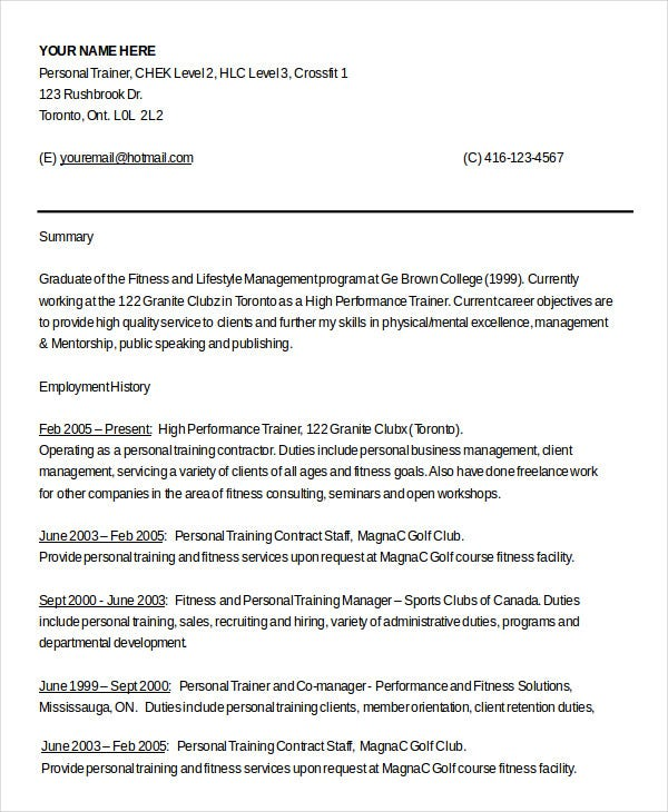 personal trainer resume templates pdf free premium for gym job certified accounting Resume Resume For Gym Trainer Job