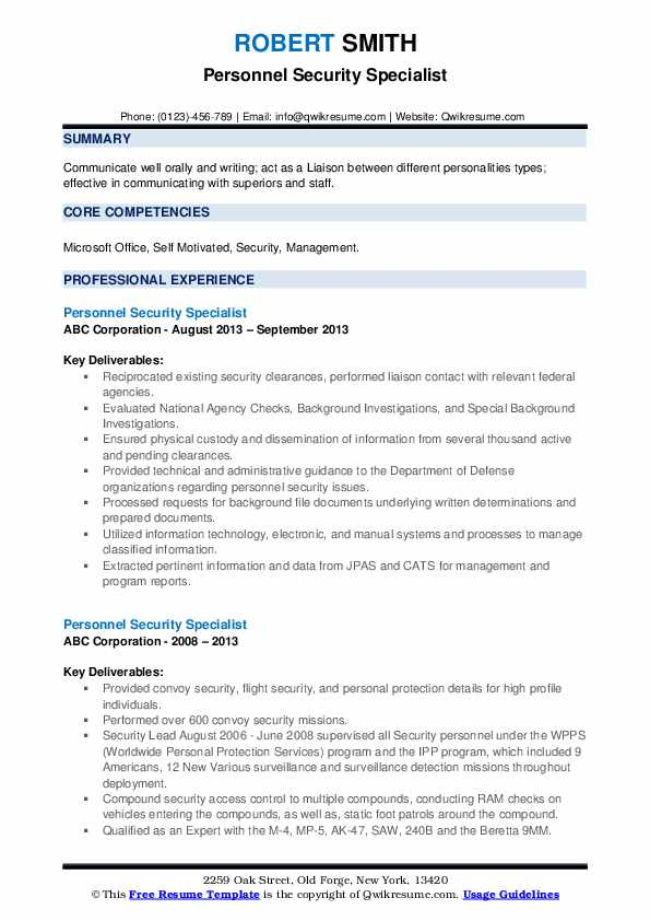personnel security specialist resume samples qwikresume clearance on examples pdf Resume Security Clearance On A Resume Examples