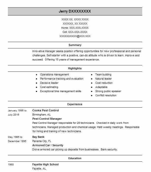 pest control service manager resume example hulett environmental services winter springs Resume Pest Control Technician Resume Sample