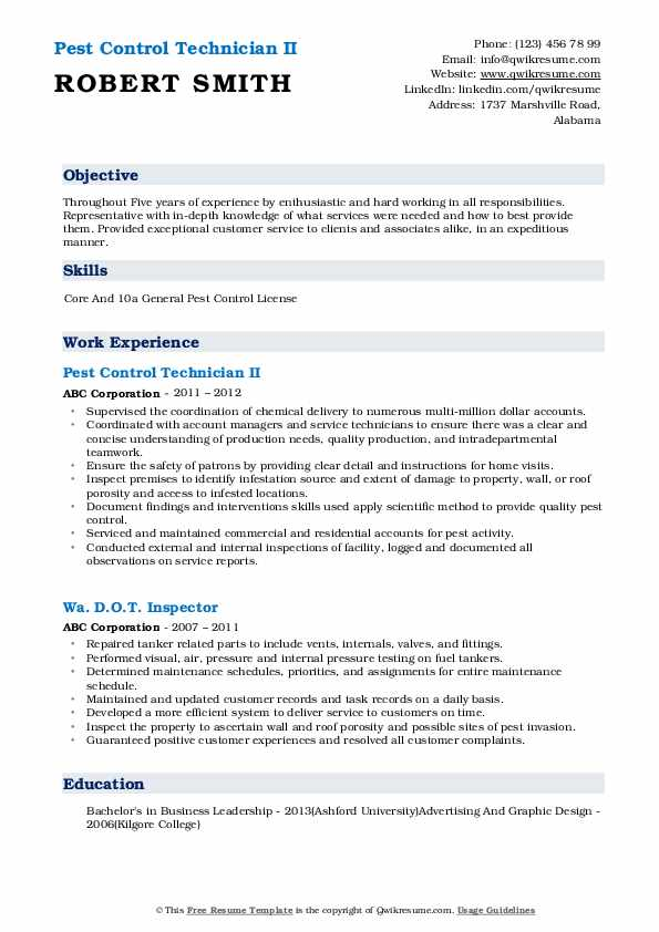 pest control technician resume samples qwikresume sample pdf college tour guide job Resume Pest Control Technician Resume Sample