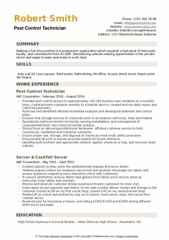 pest control technician resume samples qwikresume sample pdf statutory compliance format Resume Pest Control Technician Resume Sample