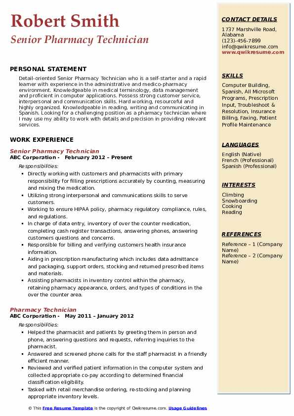 pharmacy technician resume samples qwikresume template free pdf physician assistant Resume Pharmacy Technician Resume Template Free
