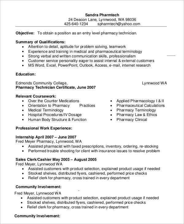 pharmacy technician resume templates pdf free premium template example entry level typing Resume Pharmacy Technician Resume Template Free