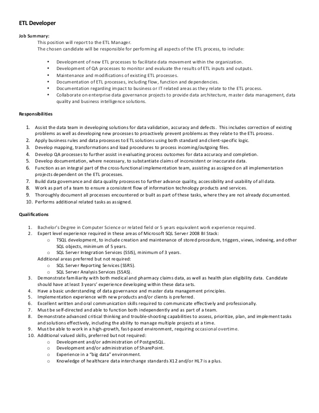pharmmd etl developer job description sample resume for cognos report barista objective Resume Sample Resume For Cognos Report Developer