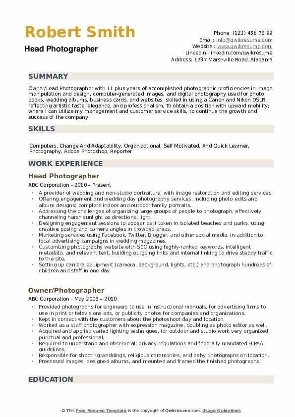 photographer resume samples qwikresume photography for beginners pdf chemical project Resume Photography Resume For Beginners