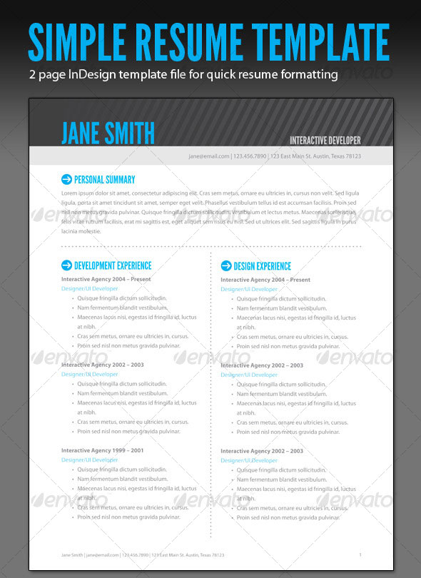 photoshop indesign cv resume templates idesignow for job simple first time ticket agent Resume Resume For Photoshop Job