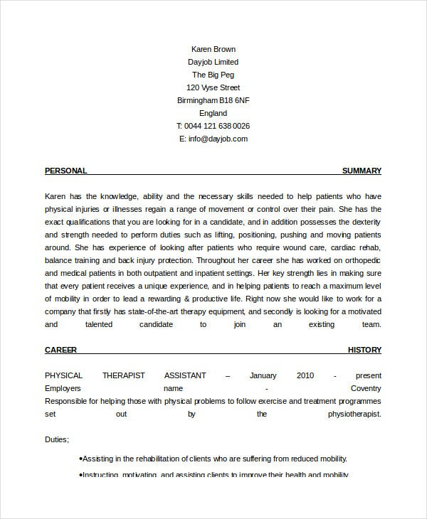 physical therapist resume free word pdf documents premium templates assistant patient Resume Physical Therapist Resume
