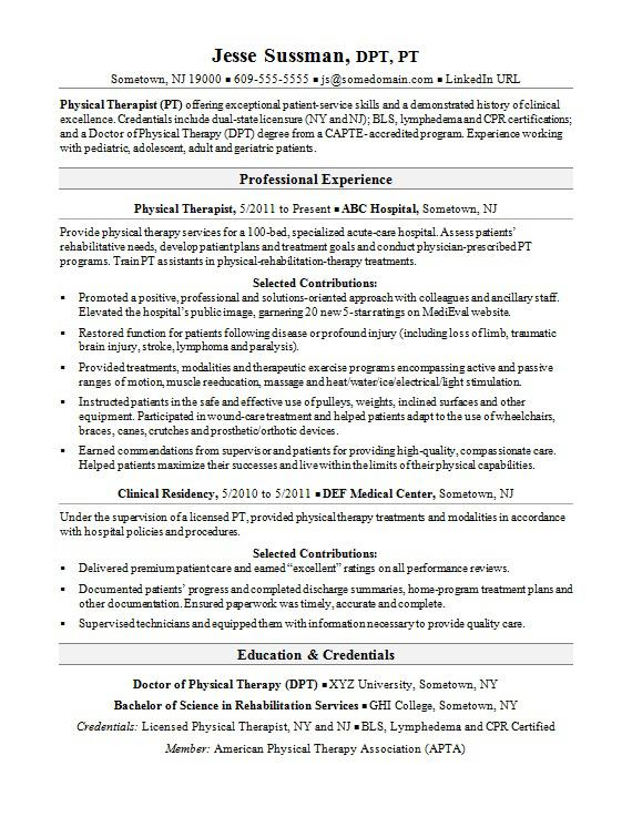 physical therapist resume sample monster retail objective examples uci template marketing Resume Physical Therapist Resume