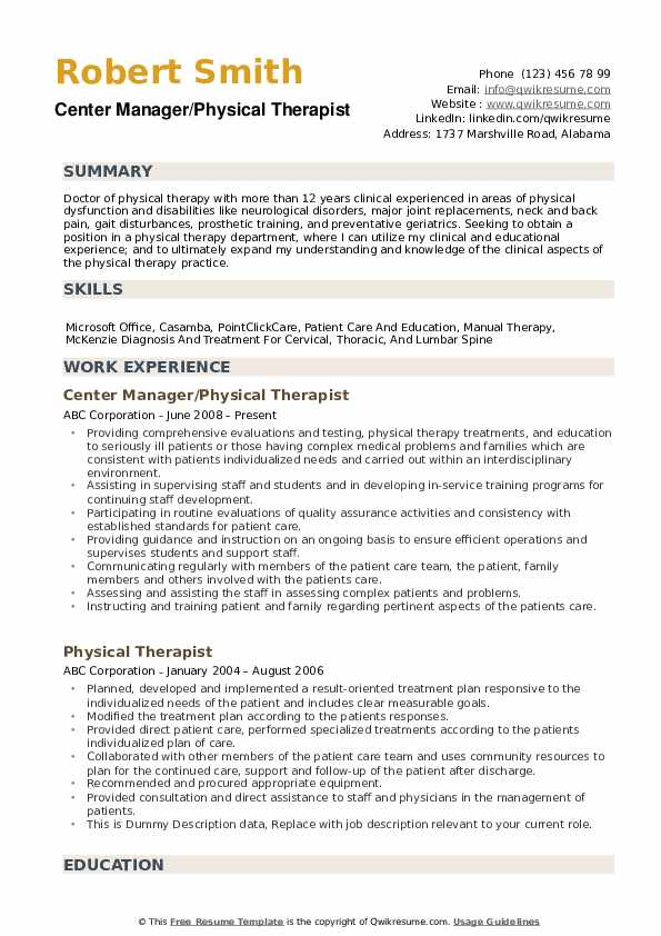 physical therapist resume samples qwikresume pdf design templates uci template college Resume Physical Therapist Resume