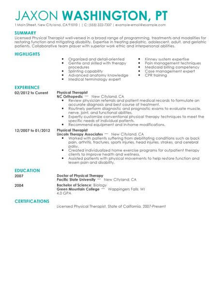 physical therapist resume template for microsoft word livecareer healthcare example Resume Physical Therapist Resume