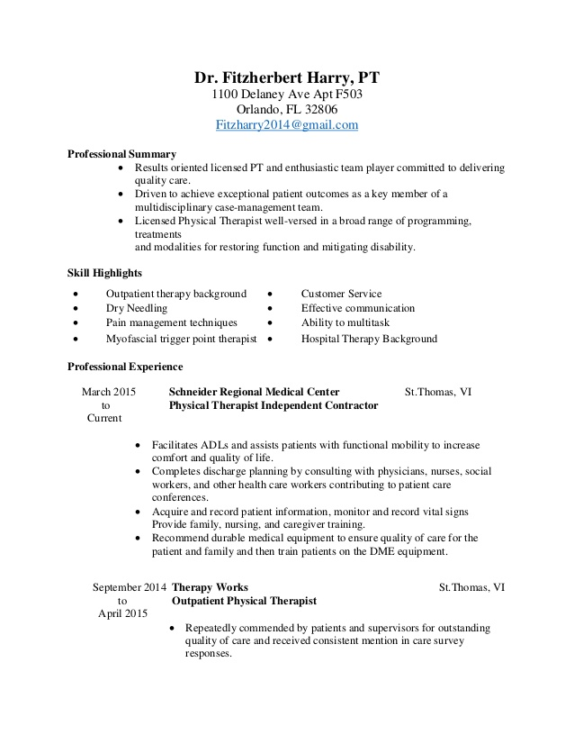 physical therapy resume therapist retail objective examples patient transporter highlight Resume Physical Therapist Resume