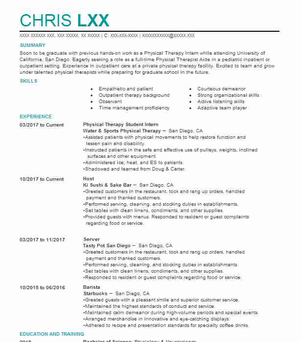 physical therapy student intern resume example life care center of saint augustine dog Resume Physical Therapy Intern Resume
